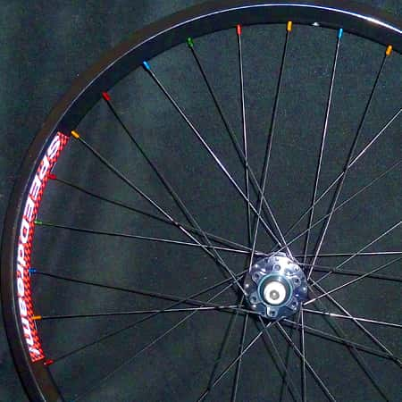 custom mountain bike wheel with colored nipples