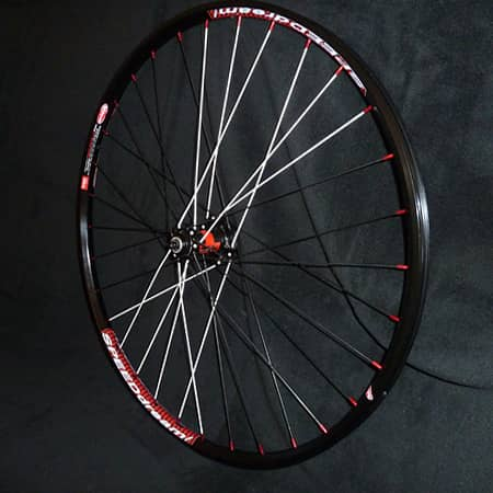 White spokes on custom bike wheel
